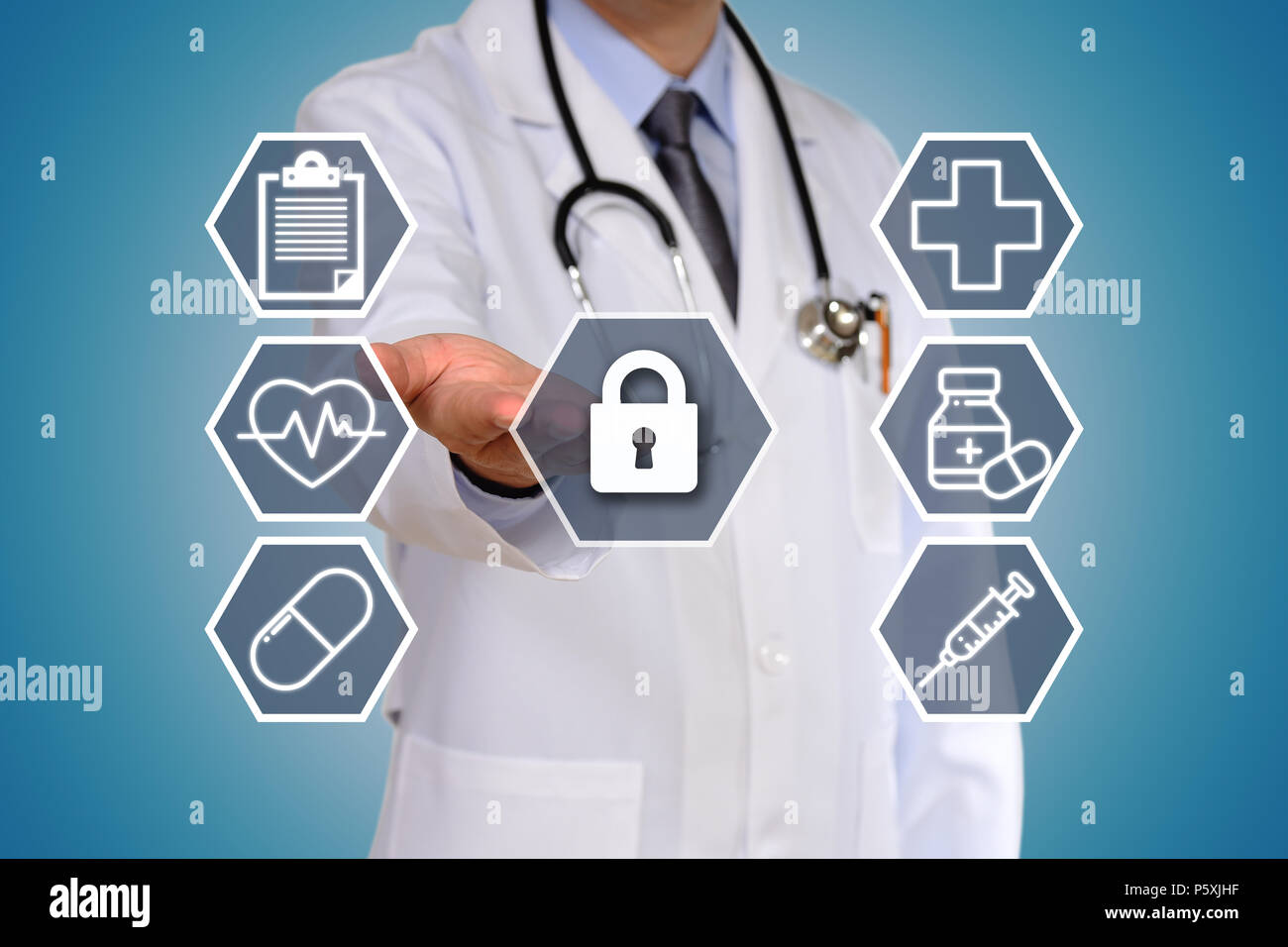 The concept of the doctor having a medical test - Stock Image