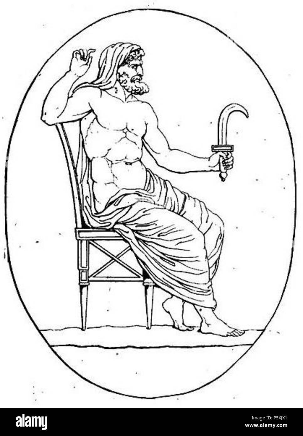 391 Cronos armé de la faucille (harpè) contre son père et divers médaillons pierre gravée crop Stock Photo