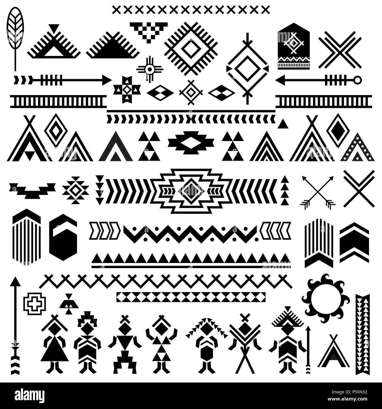 vector patterns of american typical indians motives vector symbols