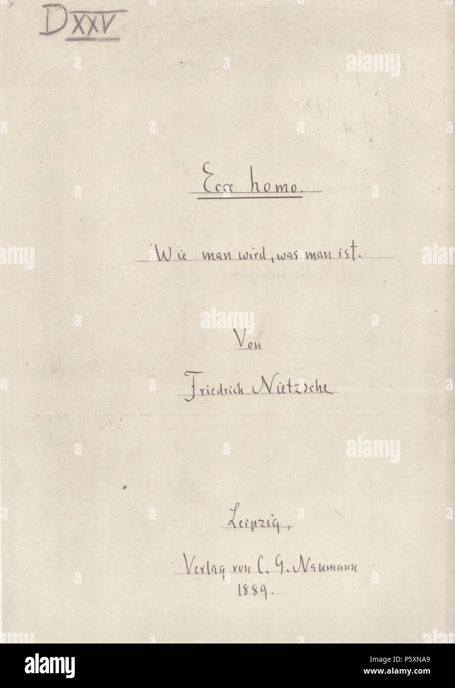 Na English Friedrich Nietzsches Ecce Homo Front Cover