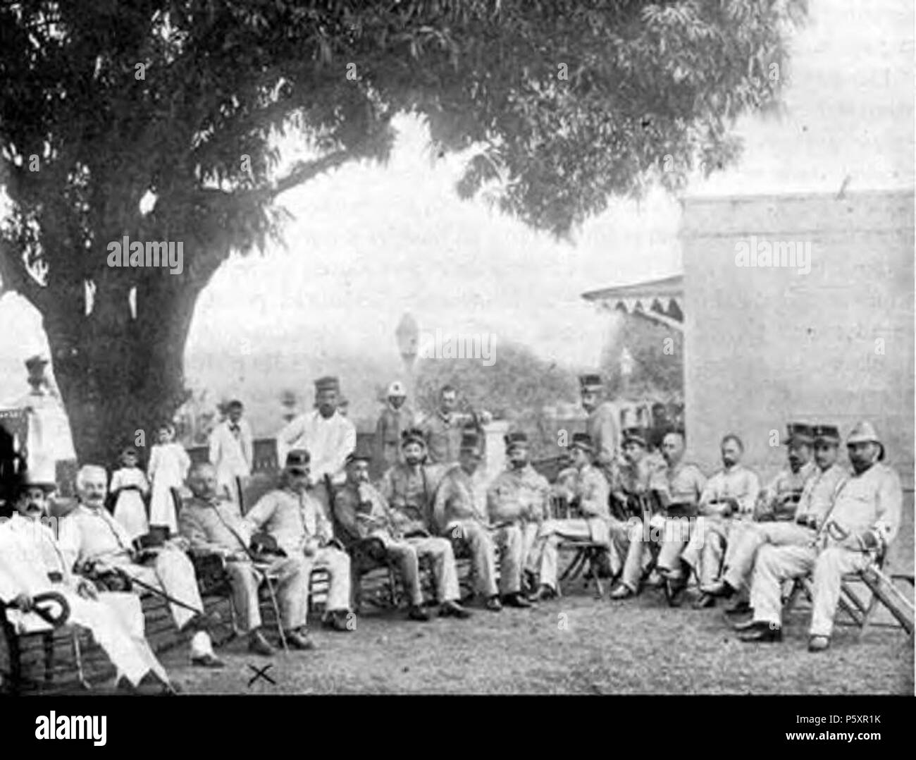 N/A. English: Col. Julio Soto Villanueva with his Staff in Mayaguez in 1898 . 1898. Unknown The image was taken over 119 years ago therefore it is assumed that the author is no longer alive. 365 Col. Julio Soto Villanueva and staff (1898) - Stock Image