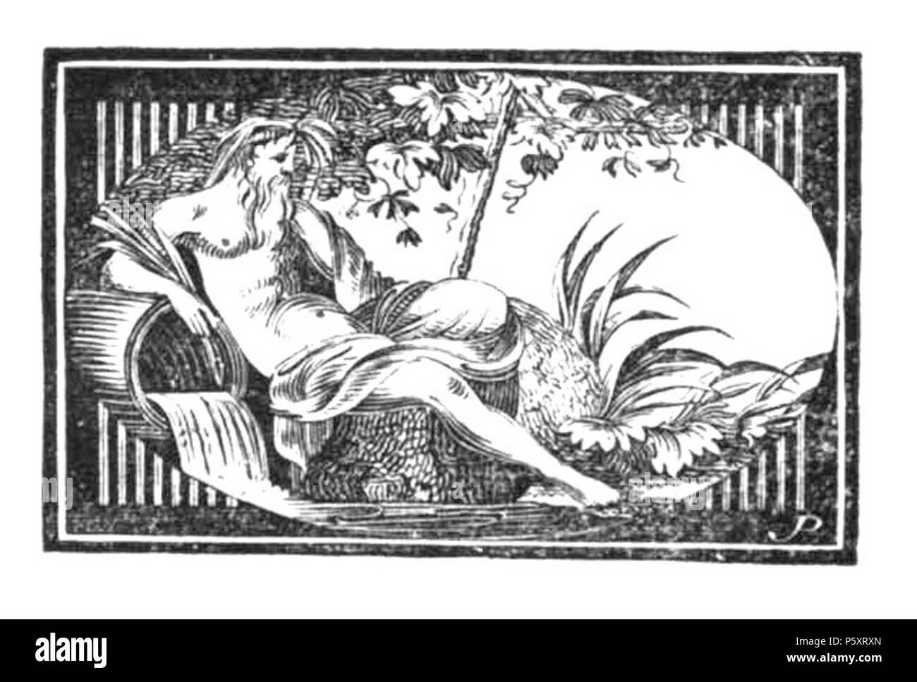 """N/A. Deutsch: Luise Duttenhofer / Holzschnitt: Johann Wilhelm Gottlieb Pfnor: Cannstatt (1821), schwarzer Scherenschnitt, Eingangsvignette für das Gedicht """"Cannstatt"""" aus dem Gedichtband """"Lautentöne"""" von Christian Gottlob Vischer. Der Holzschnitt zeigt in einem querovalen Medaillon den Gott des Neckars, der bei Bad Cannstatt am Flussufer liegt und das Wasser aus einem großen Fass in seinen Strom fließen lässt. Der Flussgott ist als älterer Mann mit ernstem Gesicht, einem klassischen Profil, einem langen, wallenden Bart und mit einem wohlerhaltenen muskulösen Körper dargestellt. Er ist nackt bi Stock Photo"""
