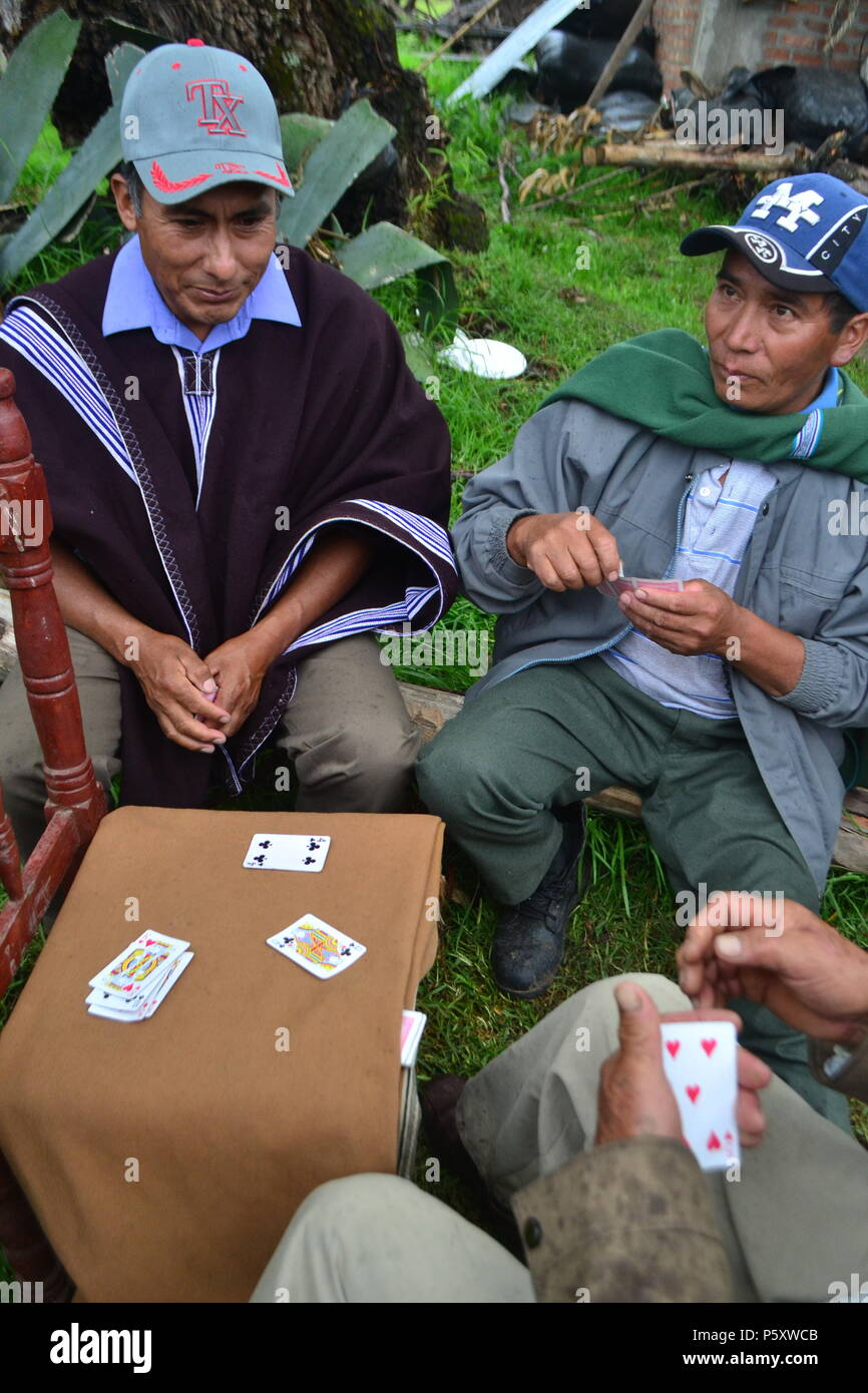 Play cards in CAJAS CANCHAQUE ' Las Huaringas '  - HUANCABAMBA.. Department  of Piura .PERU       											  					  			 	  	  			 	    	 - Stock Image