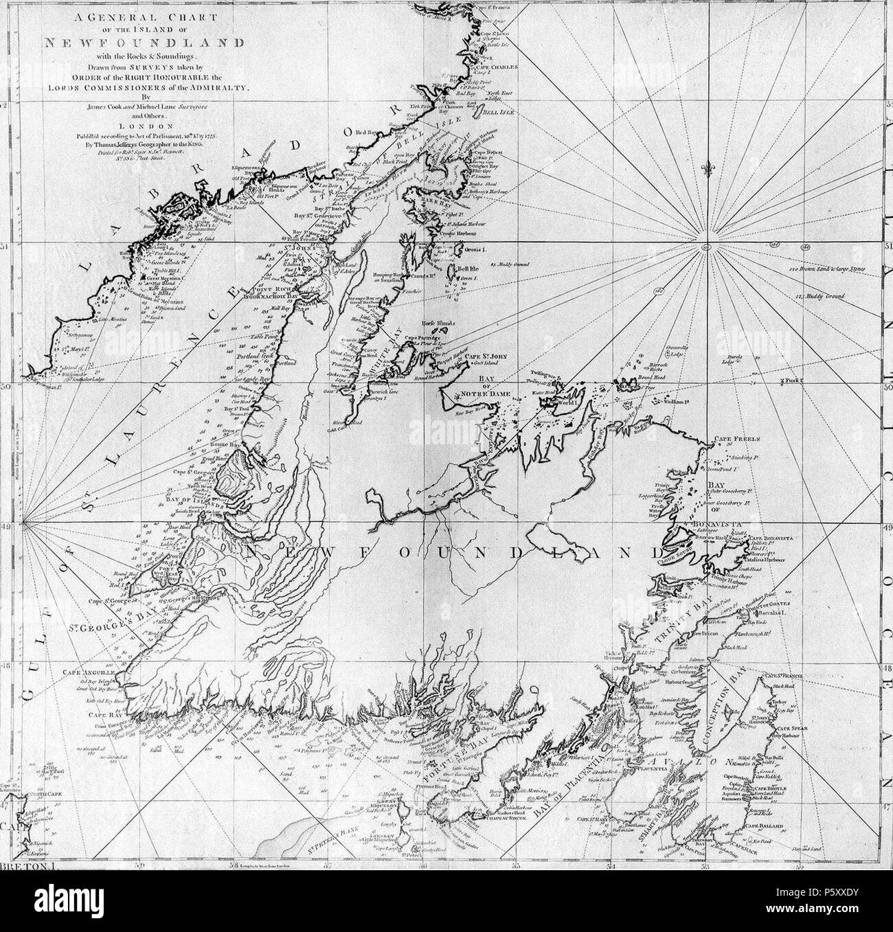 N/A. A general chart of the island of Newfoundland. Surveyed by James Cook and Michael Lane, and 'publish'd according to Act of Parliament by Thomas Jefferys Geographer to the King, 1775.' . 1775. Michael Lane and James Cook 377 Cooks Karte von Neufundland - Stock Image