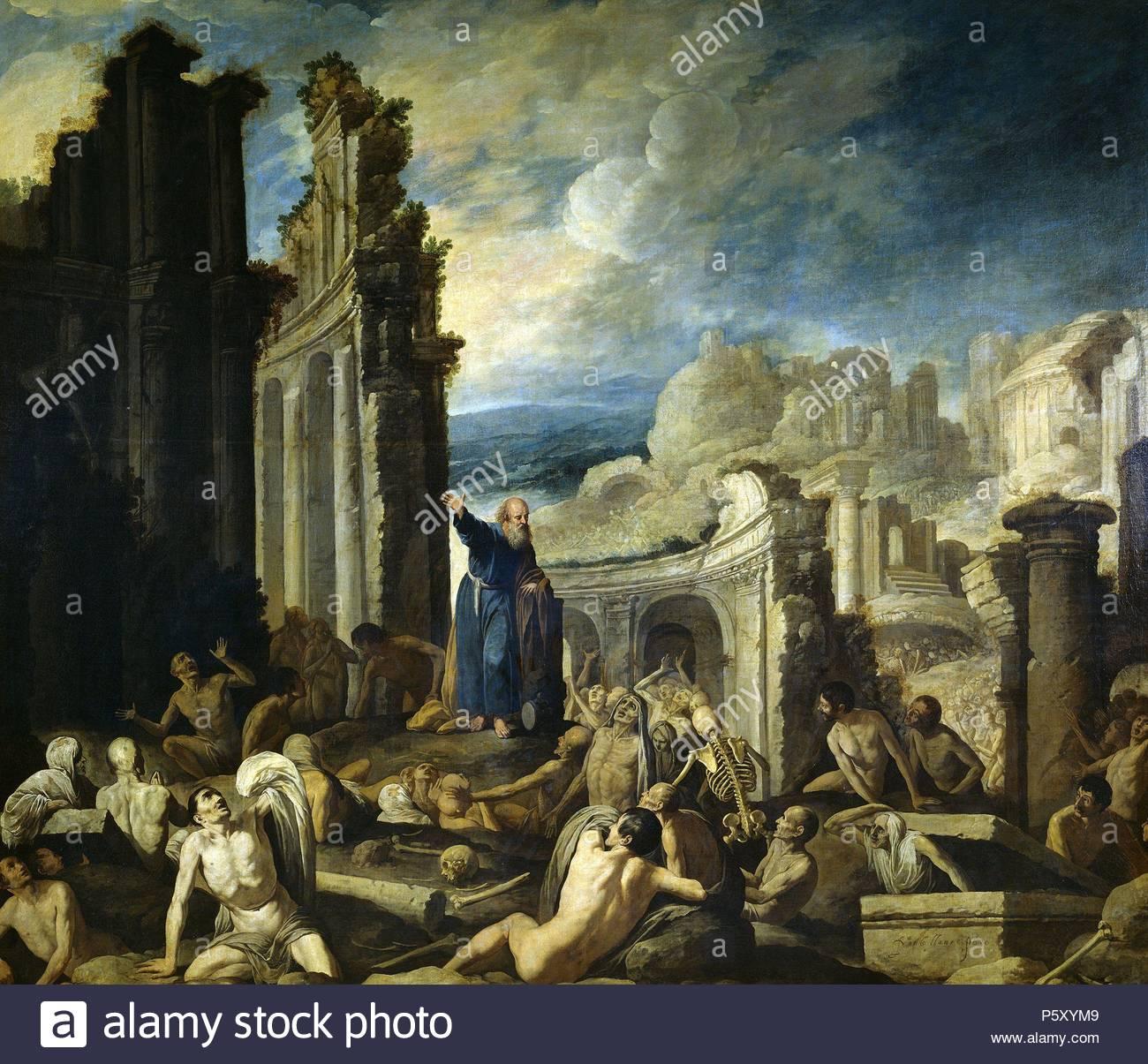 Francisco Collantes / 'The Vision of Saint Ezechiel', 1630, Spanish School, Oil on canvas, 177 cm x 205 cm, P00666. Artwork also known as: Visión de Ezequiel: la resurrección de la carne. Museum: MUSEO DEL PRADO. - Stock Image