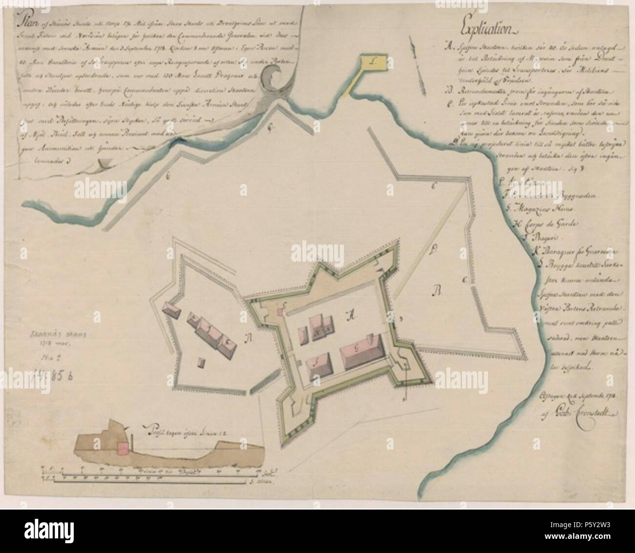 N A English Map Of The Fortification Of Skanes In Levanger