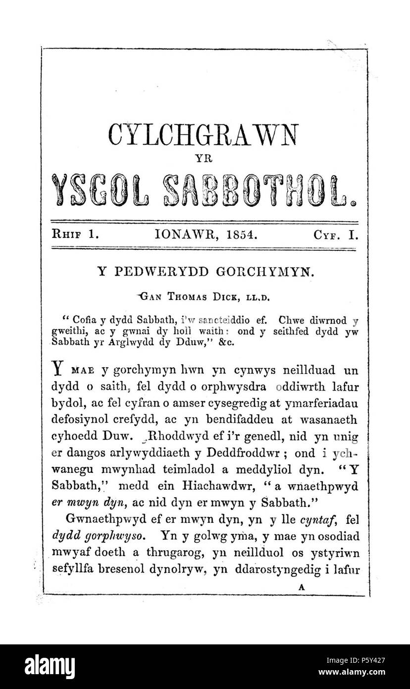 Cylchgrawn yr ysgol Sabbothol (Caernarfon). English: A monthly Welsh language religious periodical serving the Sunday schools of the Calvinist Methodist denomination, mainly in Anglesey and Caernarfonshire. The periodical's main contents were religious articles alongside news related to the two counties' Sunday Schools. The periodical was edited by Williams Vaughan Willams (Llygadog), Caernarfon. Associated titles: Yr Esboniwr (1854). Cymraeg: Cylchgrawn crefyddol misol, Cymraeg ei iaith, a oedd yn gwasanaethu ysgolion Sul yr enwad Methodistiaid Calfinaidd yn bennaf yn Sir Fôn a Sir Caernarfon Stock Photo