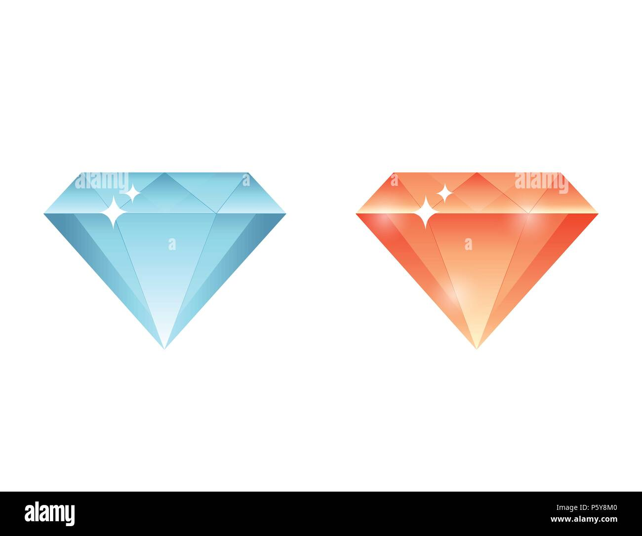 colorful gems, diamonds, crystals stone collection set - Stock Vector
