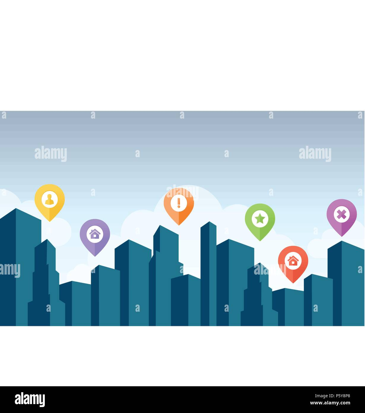 City skyline with pin icon vector illustration - Stock Vector
