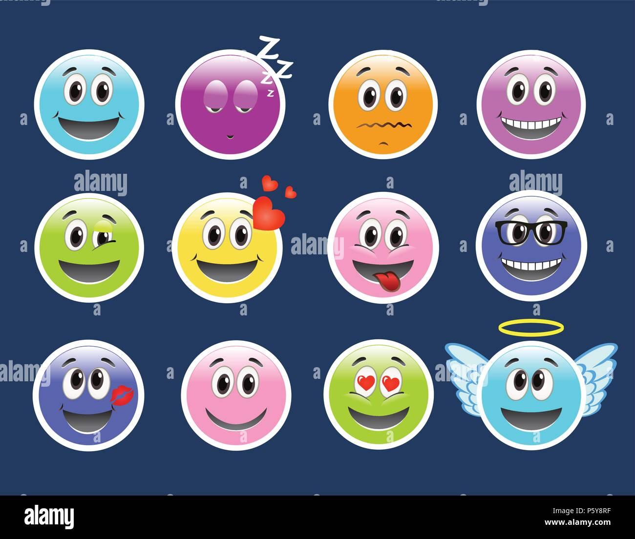 Set of Emoticons. Set of Emoji. - Stock Image