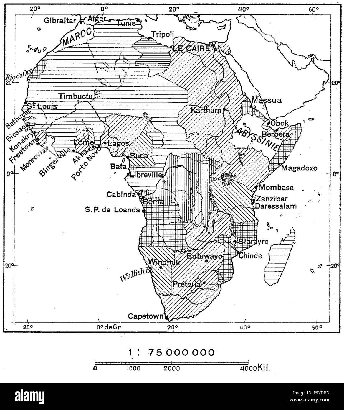 401 D268- N° 465. L'Afrique découpée en possessions européennes. - Liv3-Ch20 - Stock Image