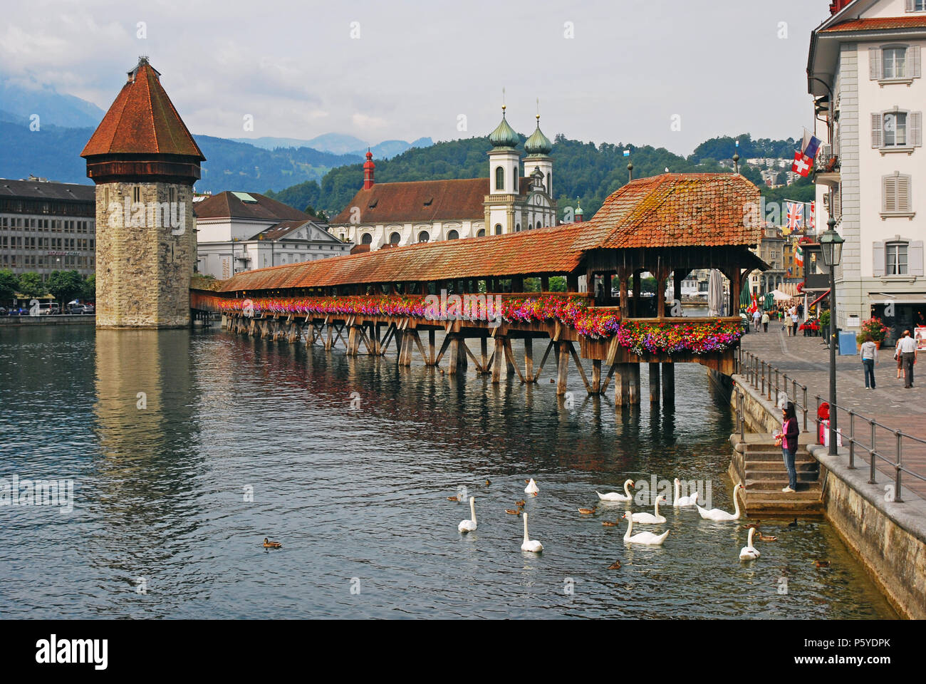 Chapel Bridge and Water Tower, Lucerne, Switzerland Stock Photo