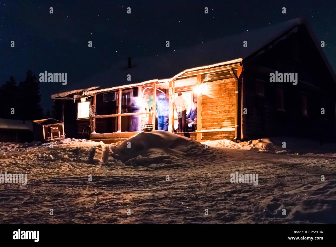 Winter Landscape With Cabin In Kiruna Lapland Sweden Stock Photo Alamy