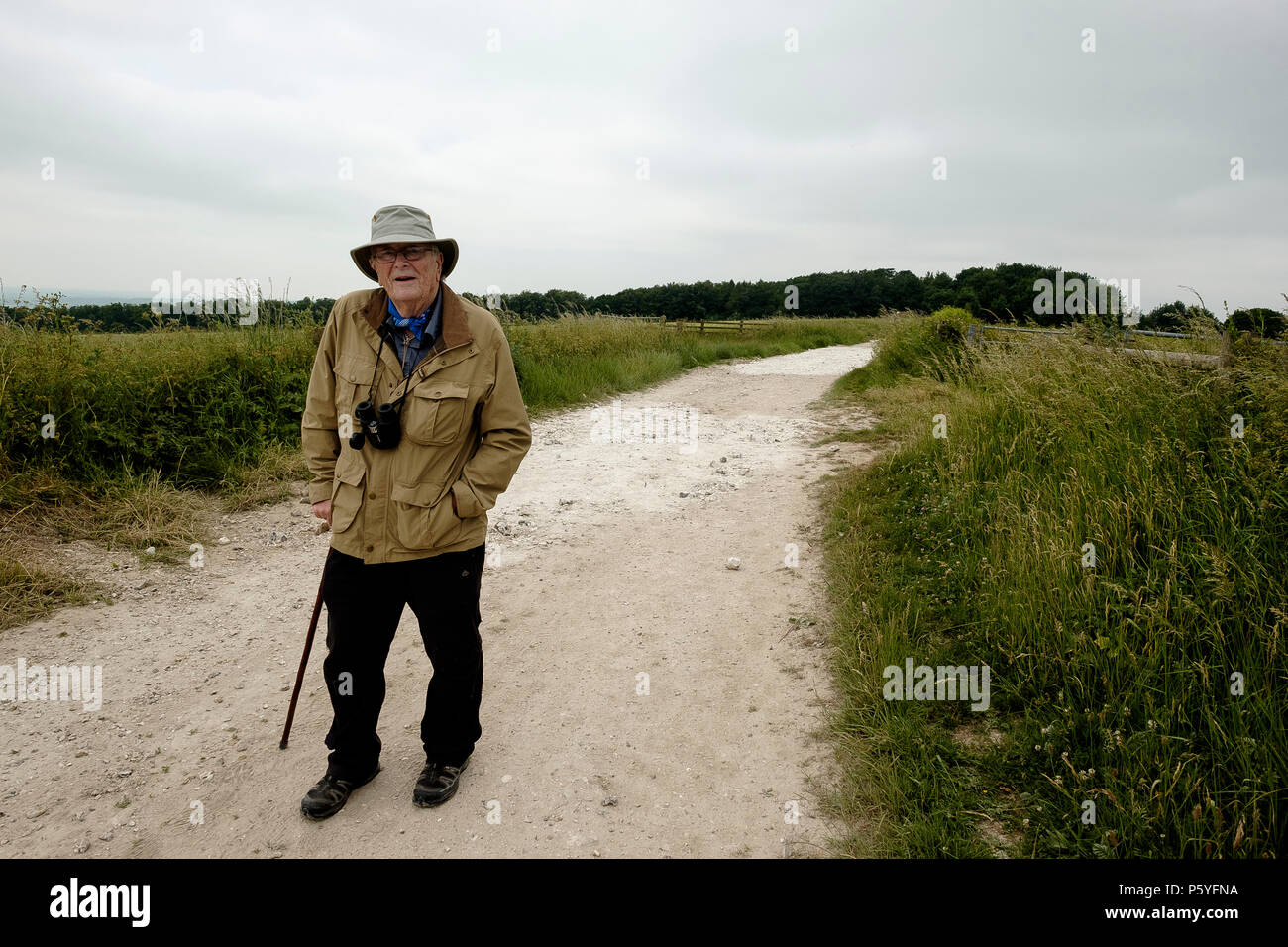 Peter Anderson, joint author of the guide book A Companion on the South Downs Way on the South Downs Way - Stock Image
