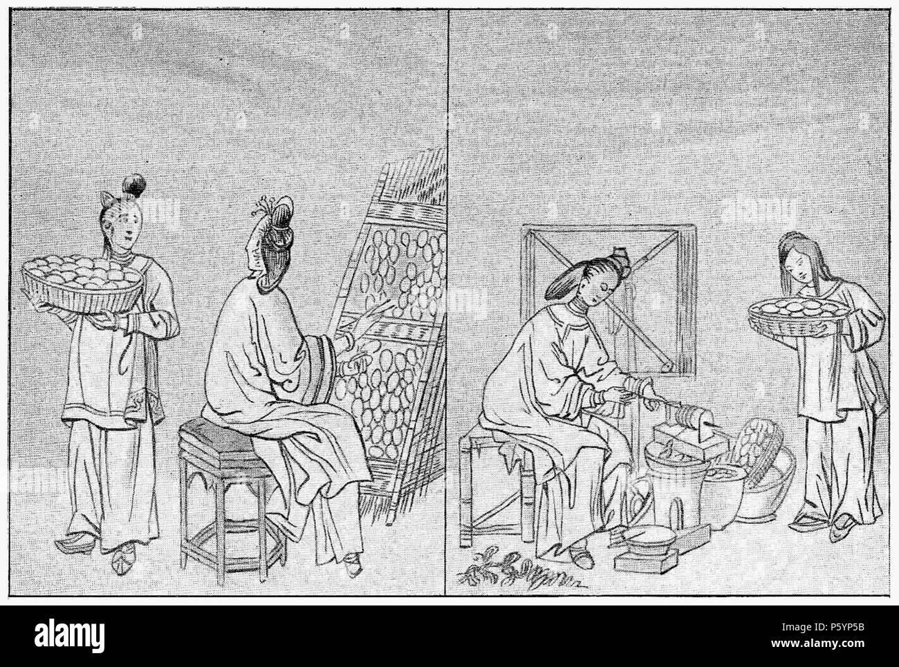 400 D200- travail de la soie, décoconnage - liv3-ch09 - Stock Image