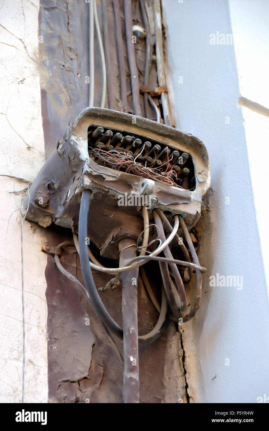 Electric Cables On Outside Of House Stock Photos Wiring Old Broken Power Cable A Facade Image