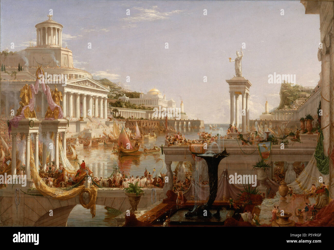 THOMAS COLE (1801-1848) English-born American painter. His 1835-6 work The Course of Empire: Consummation Stock Photo