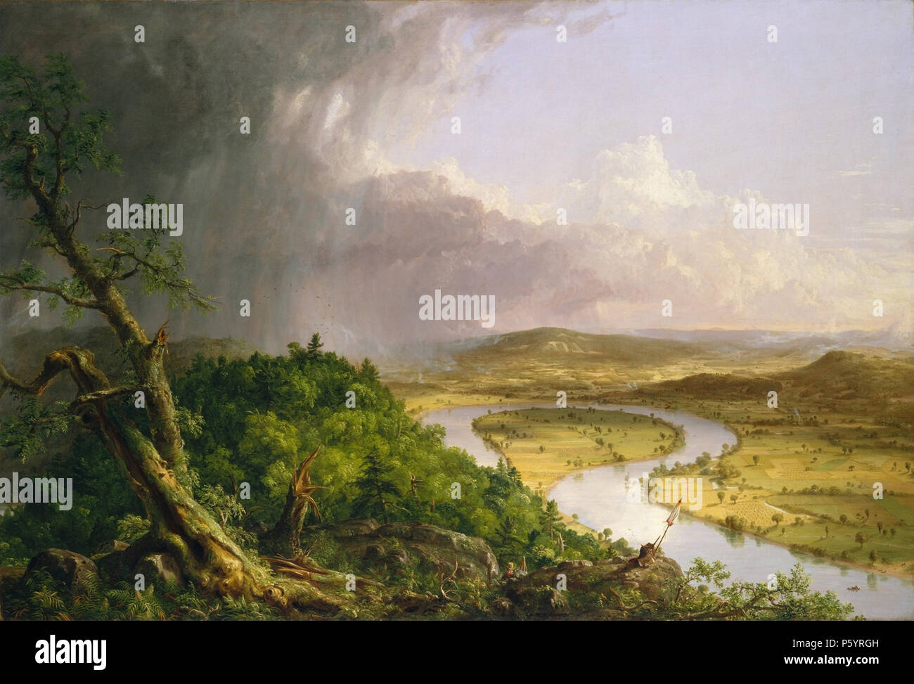 THOMAS COLE (1801-1848) English-born American painter. His 1836 painting The Oxbow (The Connecticut River near Northampton) - Stock Image