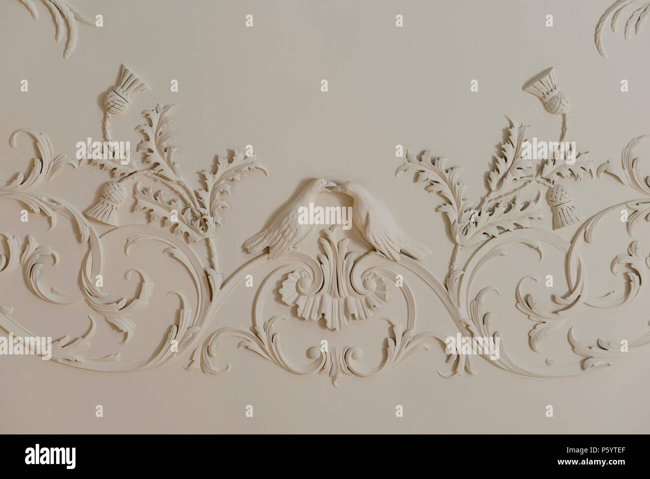 Detail of wall mouldings - Stock Image