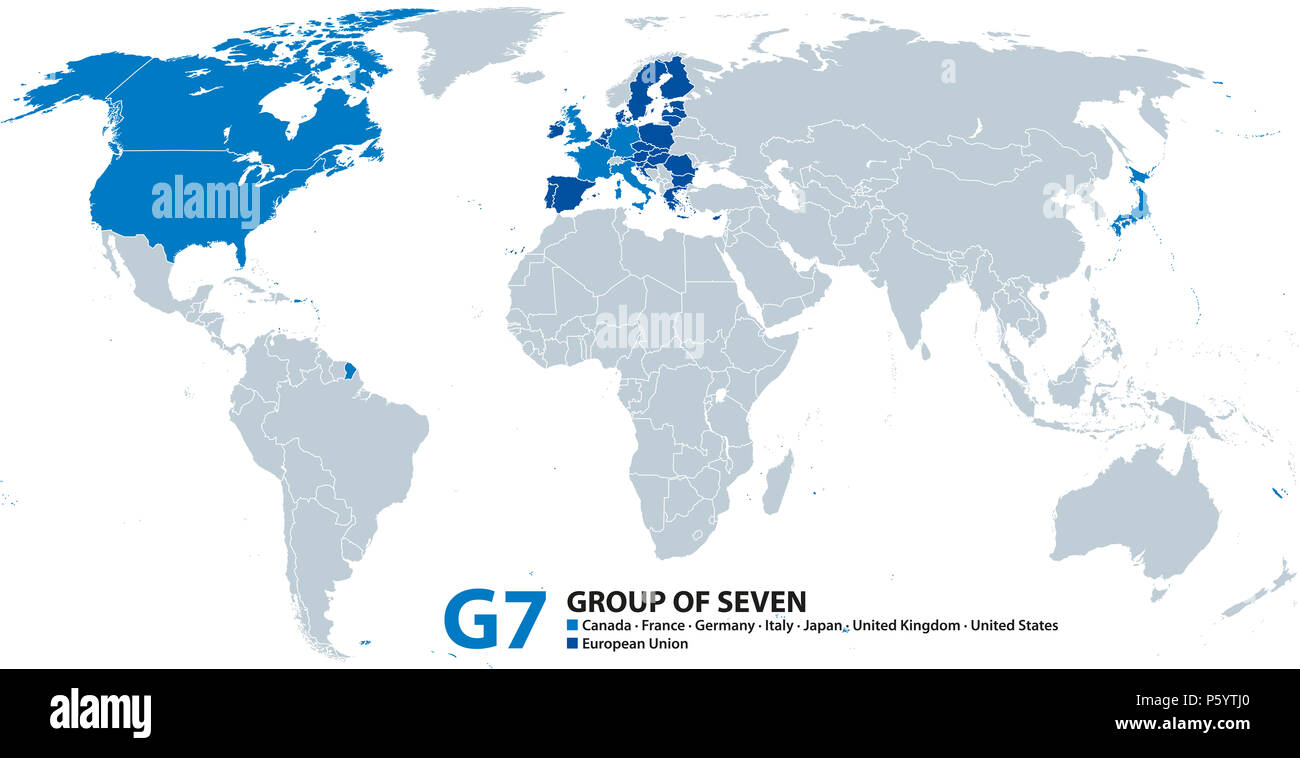 Image of: G7 Group Of Seven Infographic And Map Worlds Largest Advanced Economies Canada France Germany Italy Japan United Kingdom And United States Stock Photo Alamy