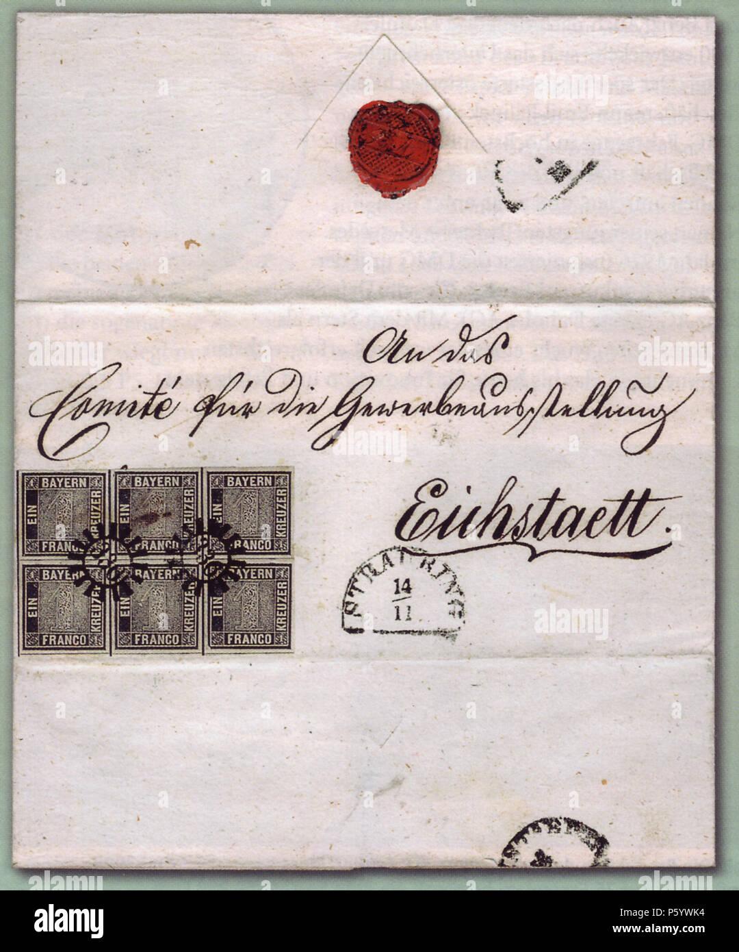 N/A. Deutsch: 'Eichstätt-Brief', einzig bekannter Brief mit einem Sechserblock der ersten Briefmarke Bayerns. Der Brief wurde am 14. November 1849 in Straubing aufgegeben und zum 'Comité für die Gewerbeausstellung in Eichstätt' geschickt. Stamp: 1849-11-01, Letter: 1849-11-14. Stamp: Entwurf und Stich: M. J. Seitz, Buchdruck: J. G. Weiss. Letter: unknown 497 Eichstaett-Brief-postfrisch Stock Photo