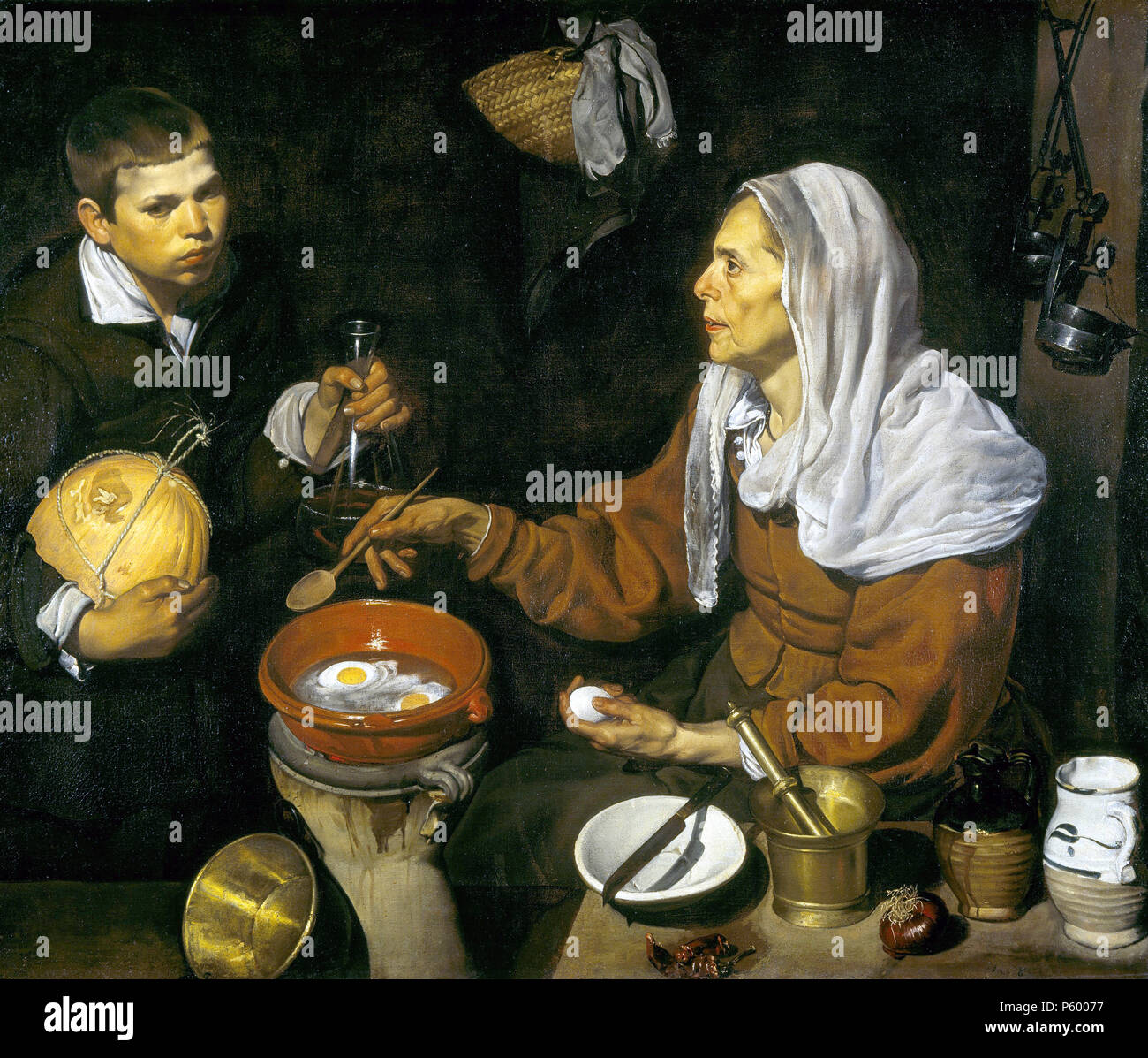 Old Woman Frying Eggs, Vieja friendo huevos by Diego Velázquez - Stock Image