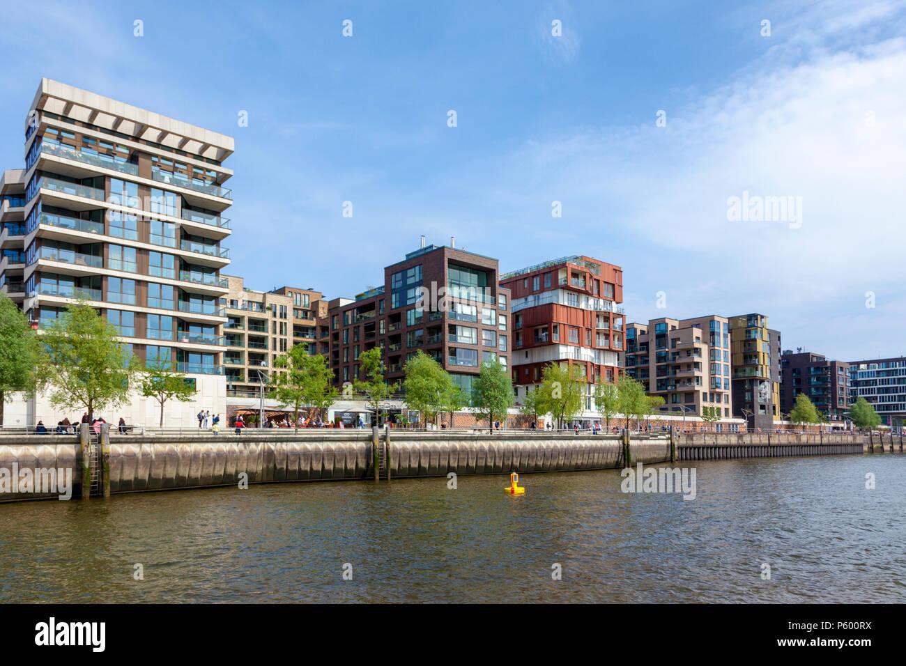 Contemporary residential architecture at HafenCity quarter, Hamburg - Stock Image