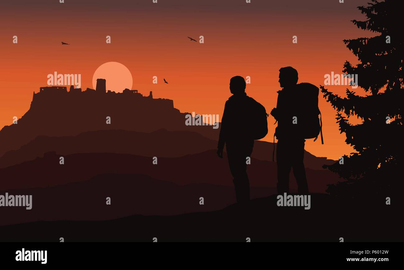Castle on a hill with two tourists in the foreground, under a night orange sky and flying birds - vector, Spis Castle, Slovakia - Stock Vector