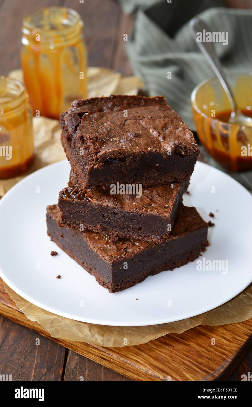 Tasty Brownies with Caramel Sauce, Homemade Chocolate Dessert Stock Photo
