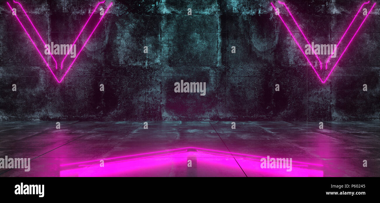 Empty Lighted Dark Grunge Concrete Room With Neon Lights