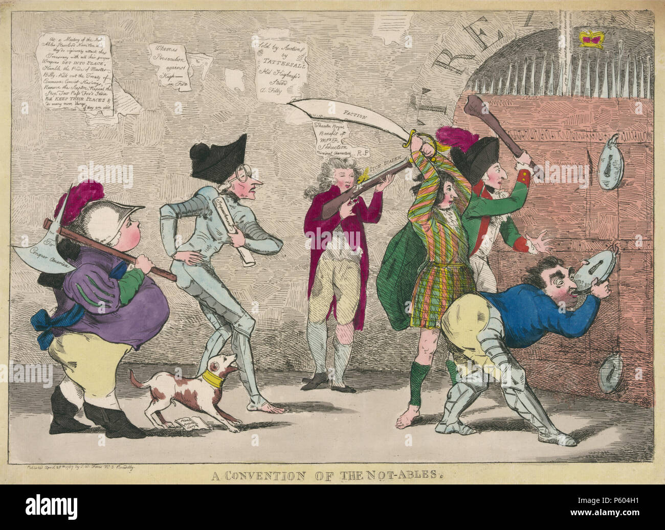 N/A. Lord North, Edmund Burke, Charles Fox, the Prince of Wales, and others attempting to break into the royal treasury. 28 April 1787. Published by S.W. Fores No. 3 Piccadilly 377 Convention of the Not-ables, 1787 - Stock Image