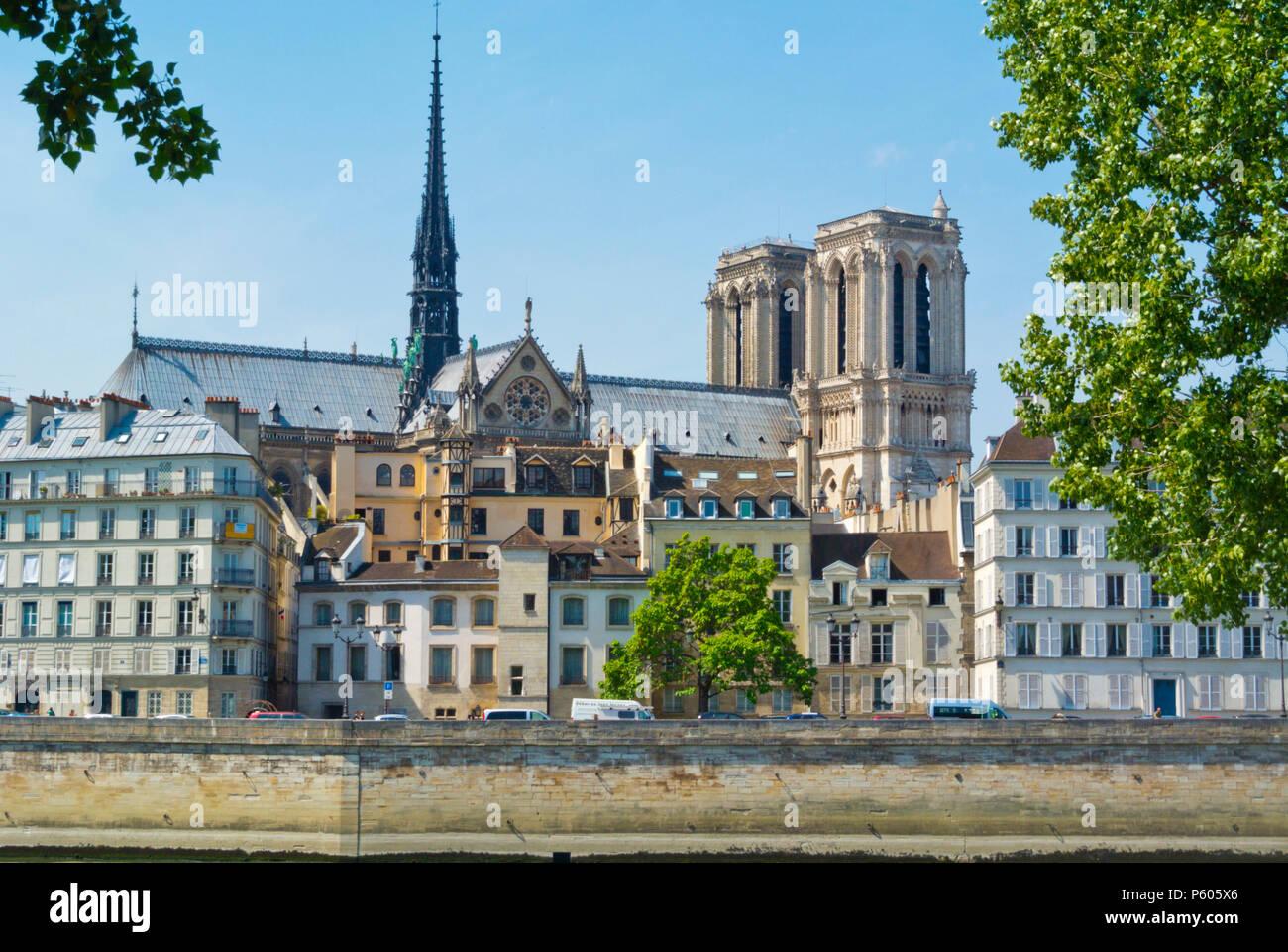 Ile de la Cite, with Notre Dame, Paris, France - Stock Image