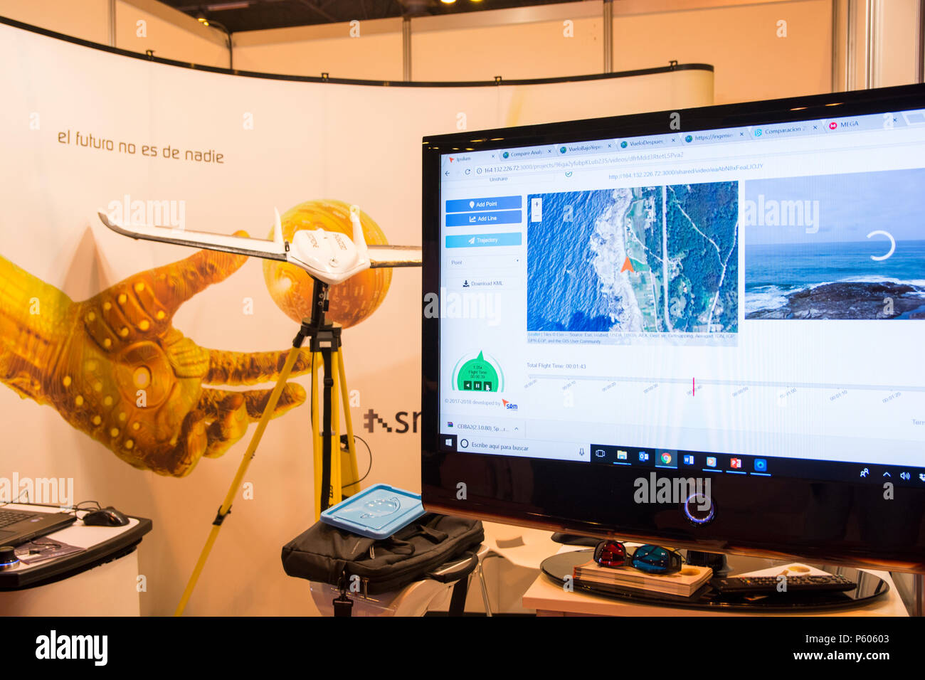 Surveillance drone and Ground Station (Ipsylum Aerial Solution) from SRM Company. In GR-EX summit (Global Robot Expo). International robot summit. - Stock Image