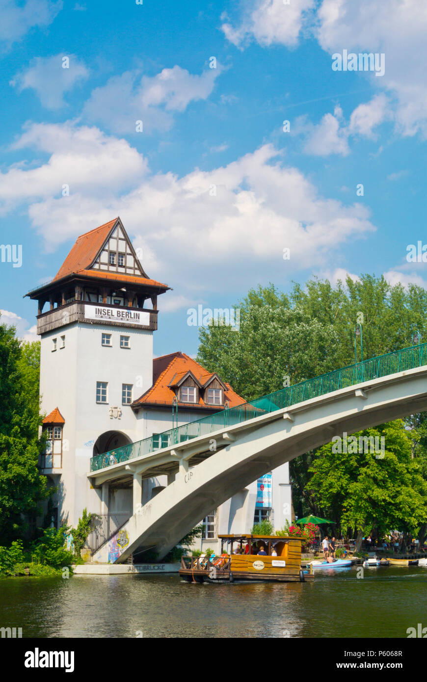 Bridge leading to Insel der Jugend, Treptower Park, Alt-Treptow, Berlin, Germany - Stock Image