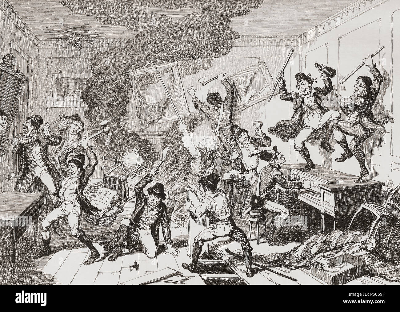 """""""Rebels destroying a house and furniture"""".  Illustration by George Cruikshank.  An incident during the Irish Rebellion of 1798.  Many large houses were destroyed by the rebels, some vengefully, others because they could be used for military purposes by the enemy.  From History of the Irish Rebellion in 1798; with Memoirs of the Union, and Emmett's Insurrection in 1803 by W.H. Maxwell. Published in London 1854. - Stock Image"""