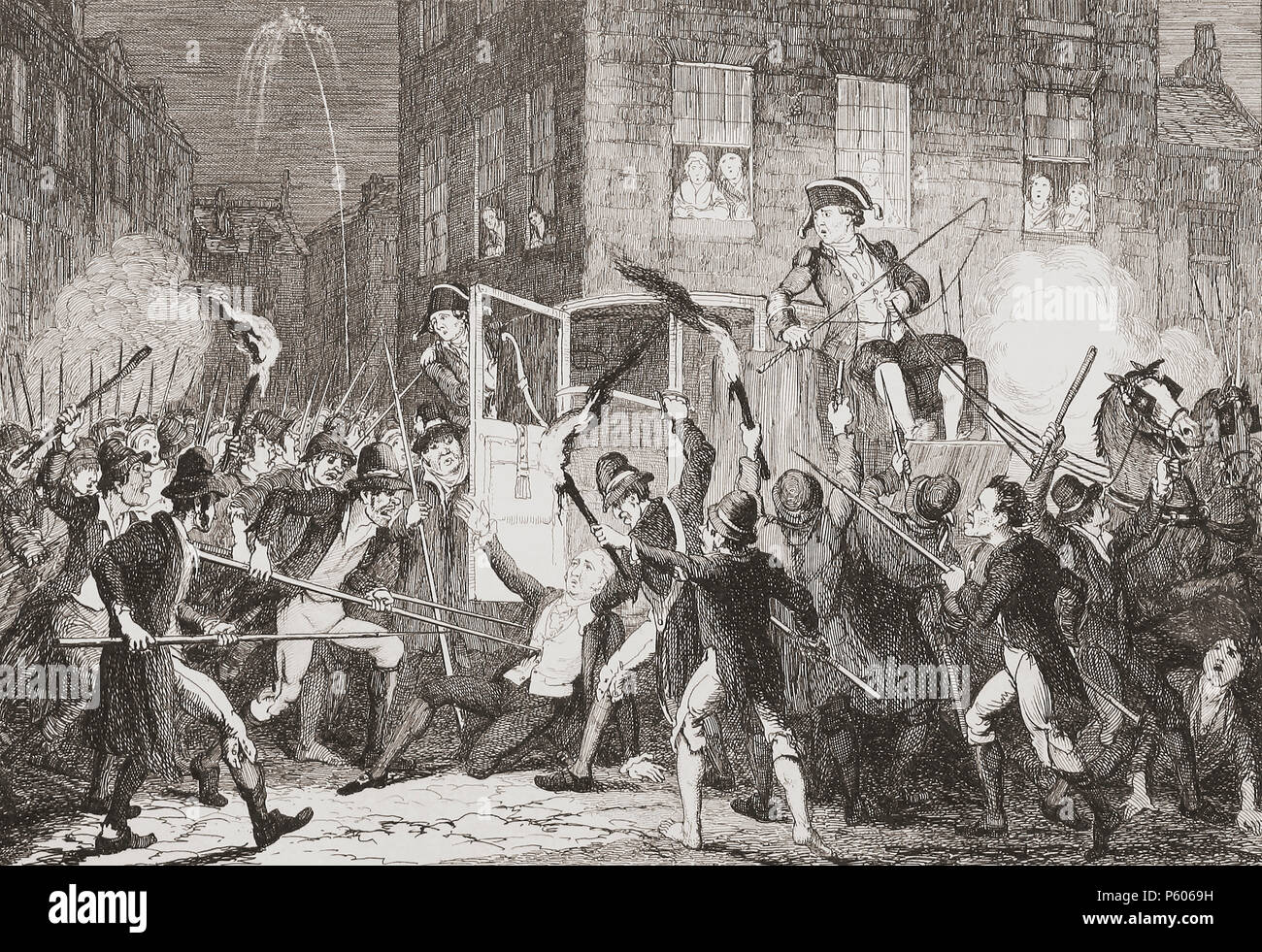 """Murder of Lord Kilwarden"". Illustration by George Cruikshank. Arthur Wolfe, 1st Viscount Kilwarden, 1739-1803. Irish peer, politician and judge.  Lord Chief Justice of Ireland.  He and his nephew were murdered on the streets of Dublin by Robert Emmet's rebels on the night of July 23, 1803 during the Irish Rebellion of 1803.  From History of the Irish Rebellion in 1798; with Memoirs of the Union, and Emmett's Insurrection in 1803 by W.H. Maxwell. Published in London 1854. - Stock Image"