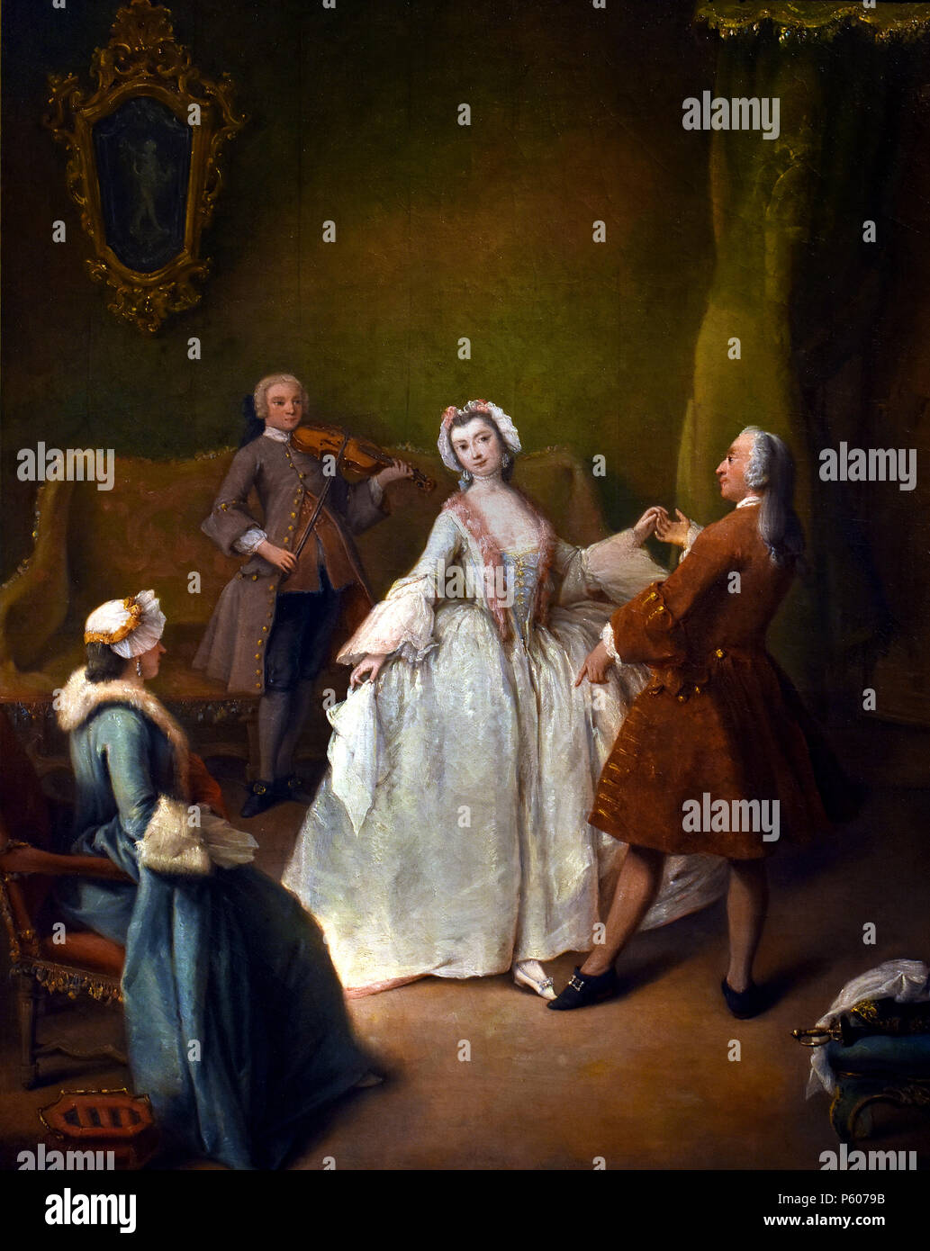 The dance lesson by Pietro Longhi, Venice, 1701-1785 ,Italy, Italian, - Stock Image