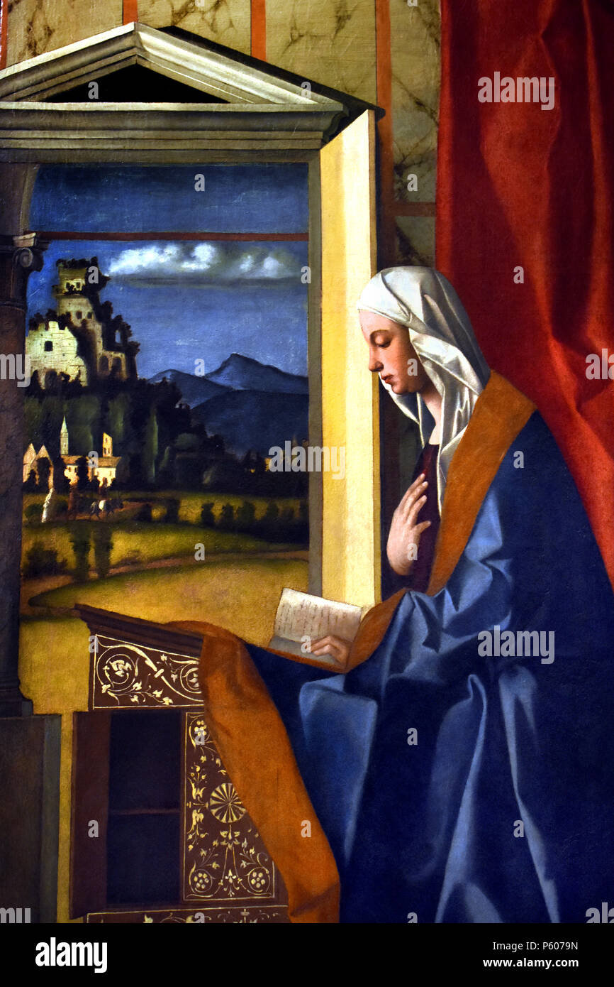 Announcing and Announced Angel by Giovanni Bellini , Venice, 1434/1439 - 1516, Italy, Italian, - Stock Image