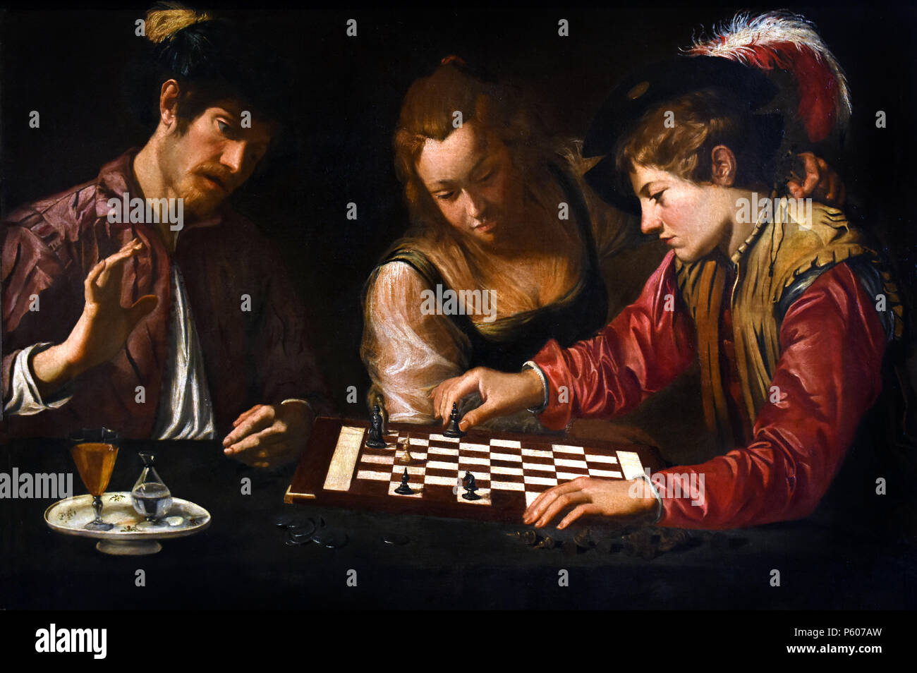 Chess player, CARAVAGGESCO ,PAINTER, Italy, Italian ( Painted in the style of Michelangelo Merisi da Caravaggio. Specifically, this means a highly realistic portrayal of figures, the focus on dramatic situations and subjects, and a high contrast of light and dark (chiaroscuro). 16-17th Century - Stock Image