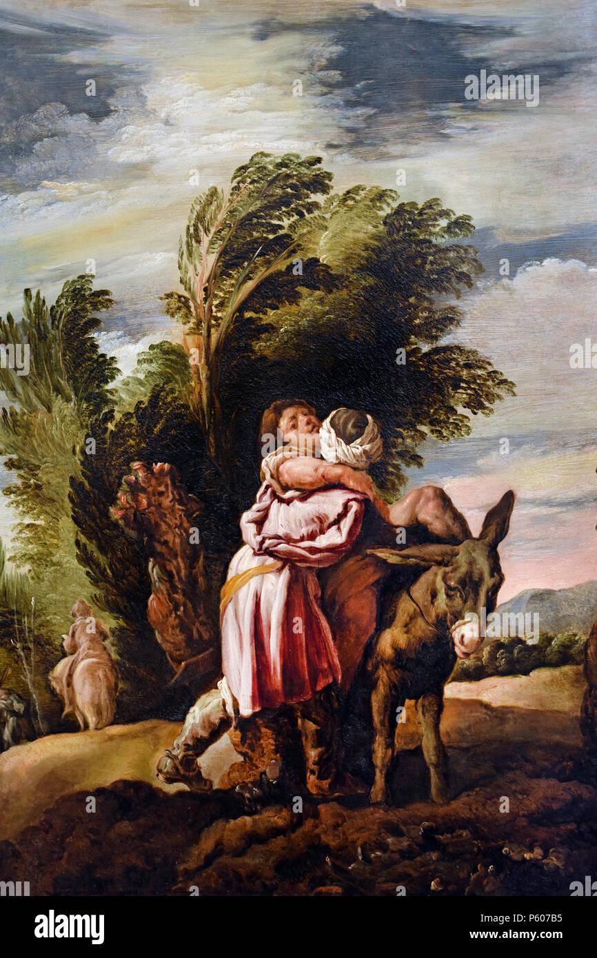 The Parable of the Good Samaritan 1620 by Domenico Fetti e Bottega 1589-1623 Italy, Italian, - Stock Image