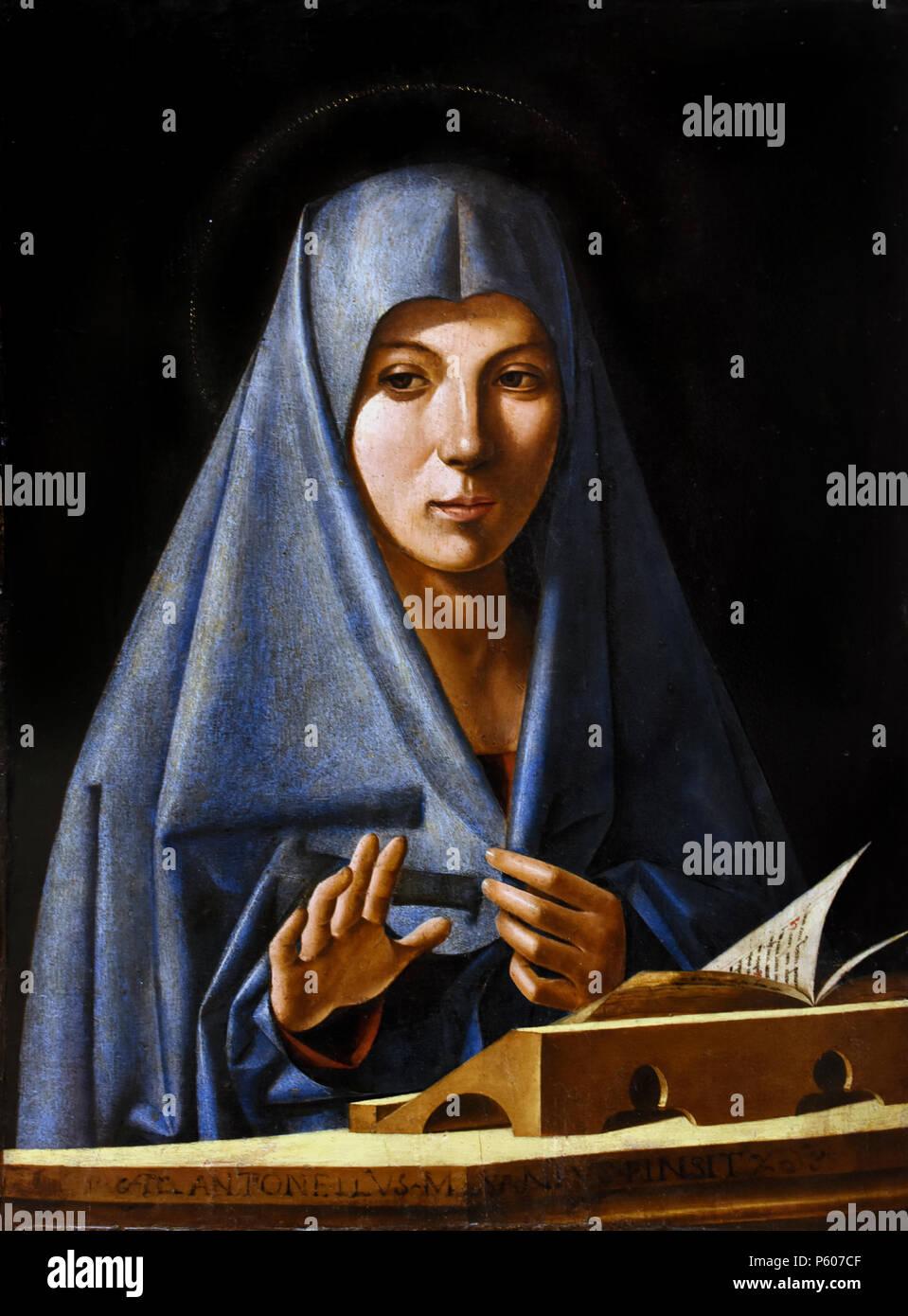 Announced by Antonello de Saliba (Messina, 1467  - 1535 ), Italy, Italian, - Stock Image