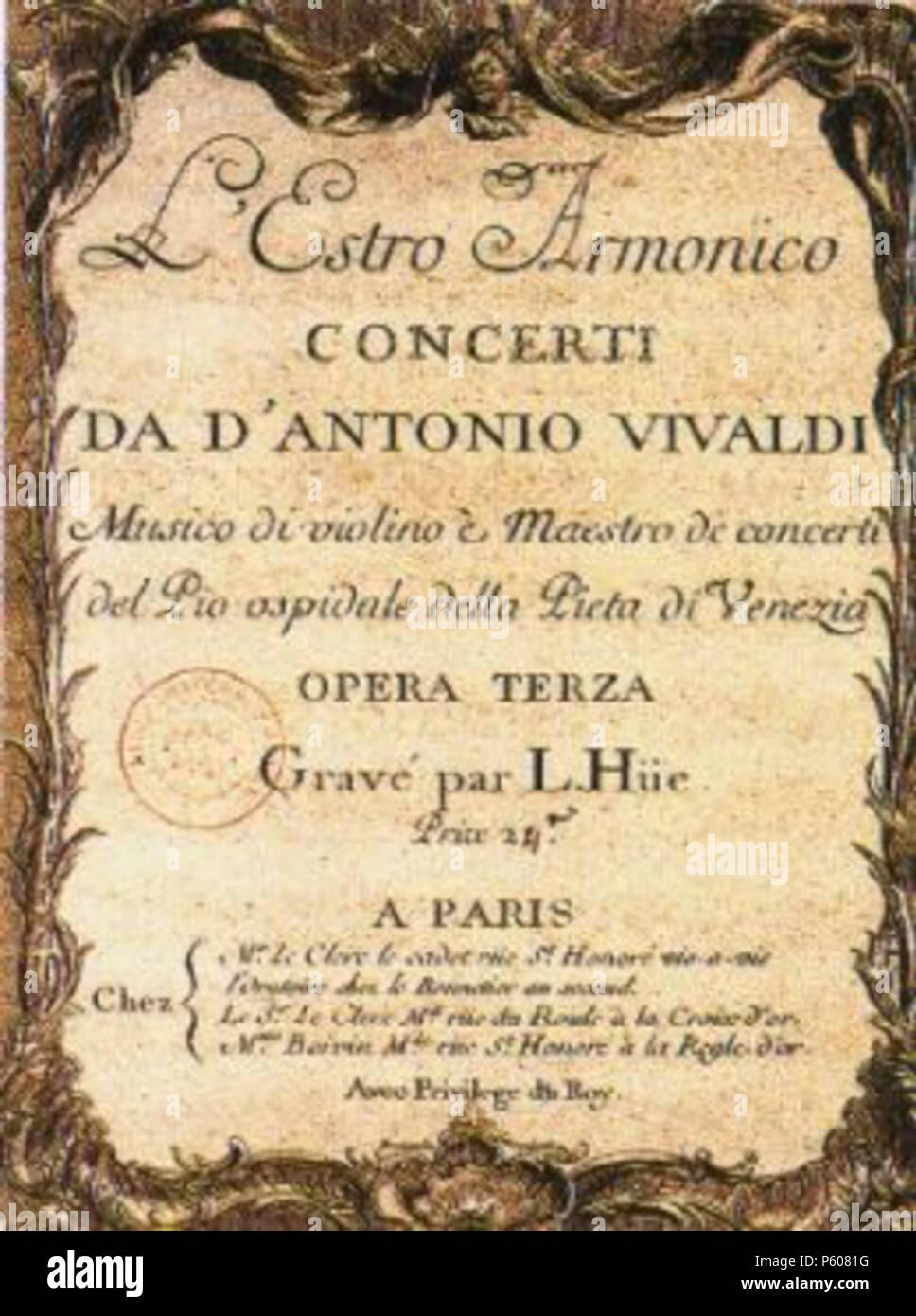 N/A. Original Score . 1700. Antonio Vivaldi 532 Estro Armonico - Stock Image
