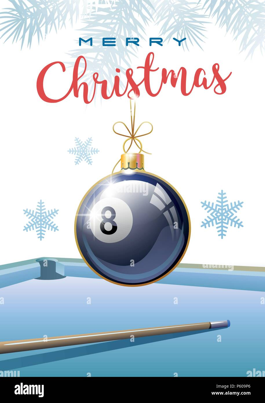 Merry Christmas. Sports greeting card. Realistic Billiard ball in the shape of a Christmas ball. Vector illustration. - Stock Image