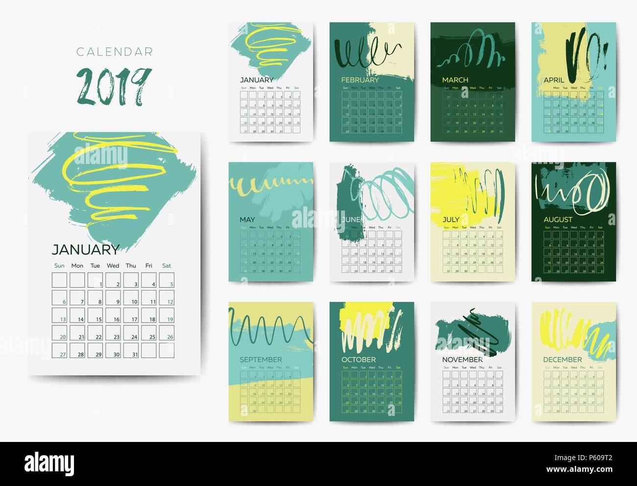 The 2019 Calendar Template Stock Vector Art Illustration Vector