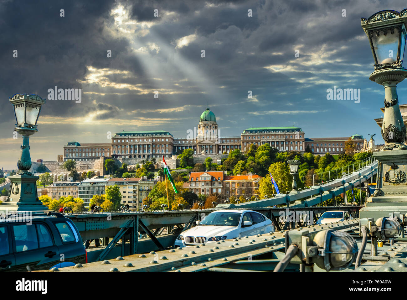 A view of Buda Castle, the Historical Castle And Palace Complex Of The Hungarian Kings from the Chain Bridge in Budapest, Hungary. Stock Photo