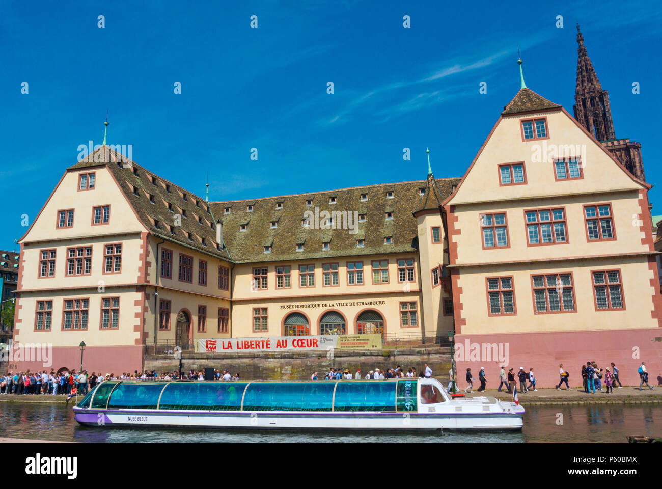 Pier Batorama Rohan Palace, by River Ill, Grande Ile, Strasbourg, Alsace, France - Stock Image