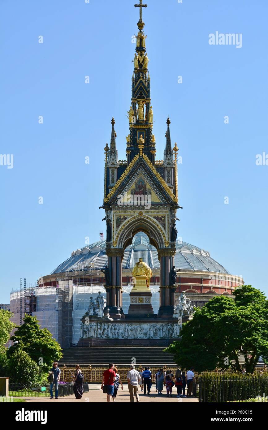 The Royal Albert Memorial outside of Royal Albert Hall in Kensington Gardens, London, UK - Stock Image
