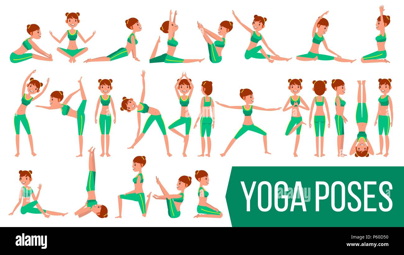 Yoga Woman Poses Set Vector. Relaxation And Meditation. Stretching And Twisting. Practicing. Body In Different Poses. Cartoon Character Illustration - Stock Vector