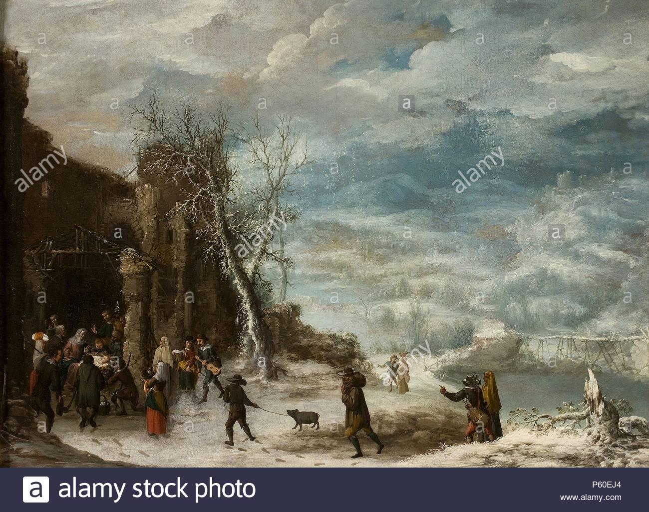 Francisco Collantes / 'Paisaje de invierno con la Adoración de los pastores', 1630-1650, Spanish School, Oil on canvas, 72,2 cm x 105,7 cm, P08015. Museum: MUSEO DEL PRADO. - Stock Image