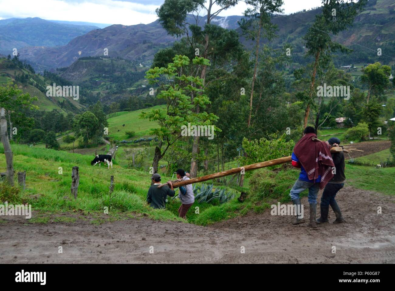 Farmers in SANTA ROSA ' Las Huaringas '  - HUANCABAMBA.. Department  of Piura .PERU                      - Stock Image